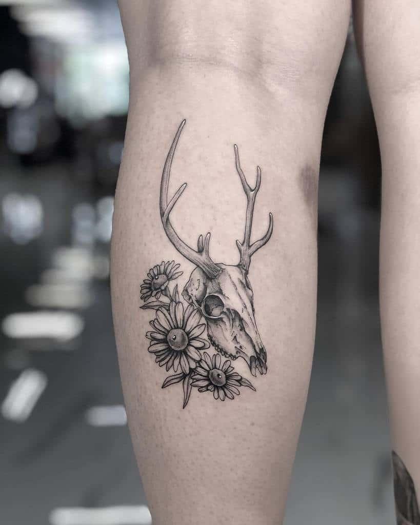 leg deer skull tattoo aliceink_tattoos