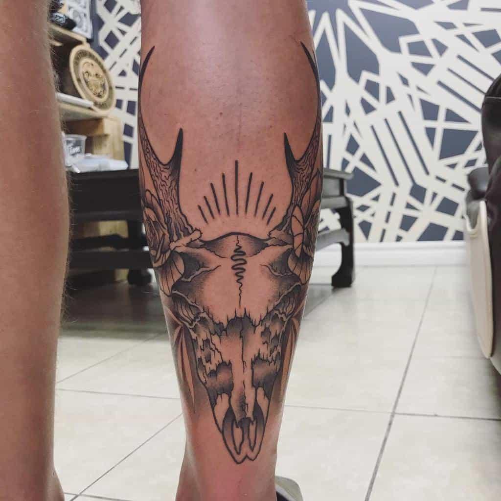 leg deer skull tattoo little.mustard.ink