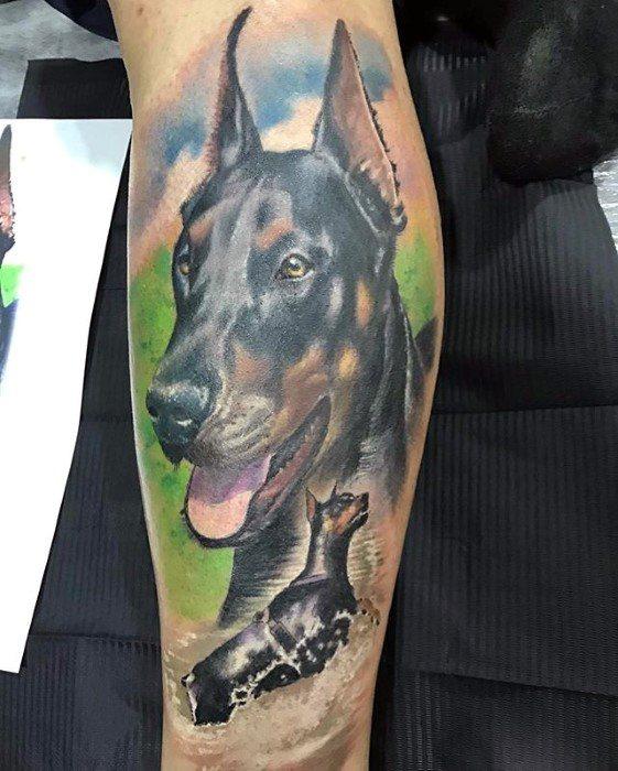 Leg Doberman Tattoo Ideas For Males