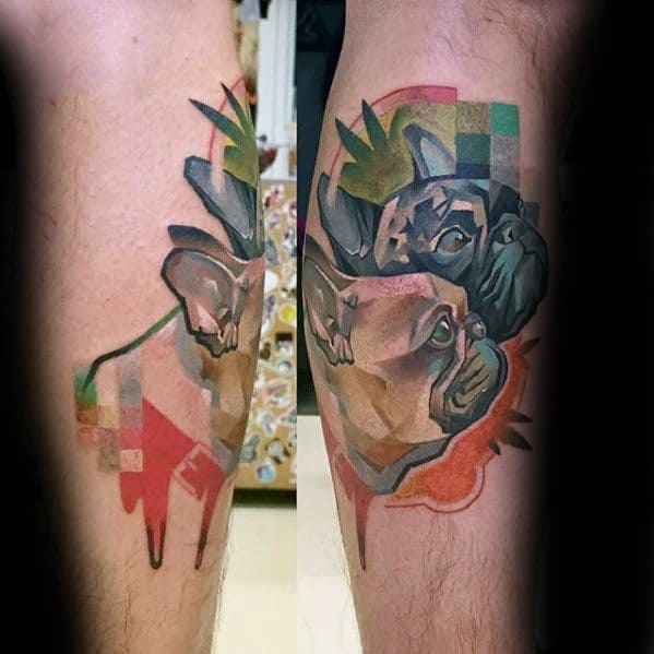 Leg Dogs Male Pixel Tattoo Design Inspiration