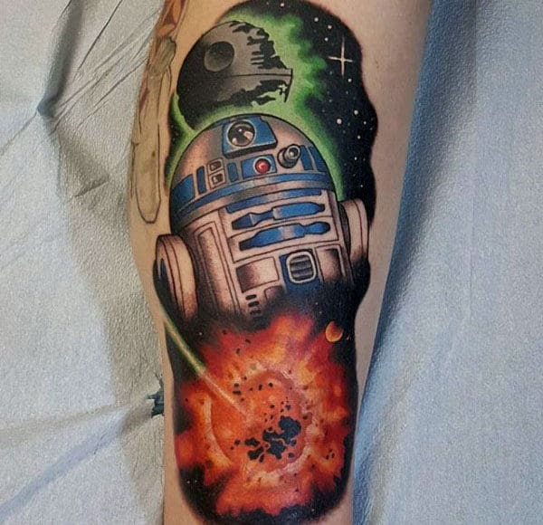 Leg Explosion Rd2d Star Wars Guys Tattoo