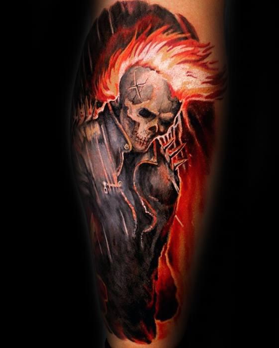 Leg Flaming Skull Male Tattoos