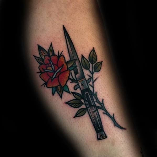 Leg Flower With Switchblade Guys Tattoos