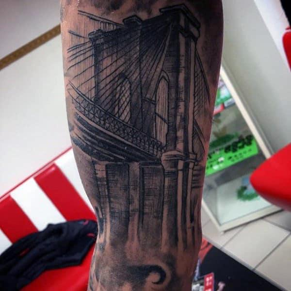 Leg Guys Brooklyn Bridge Shaded Tattoo Ideas