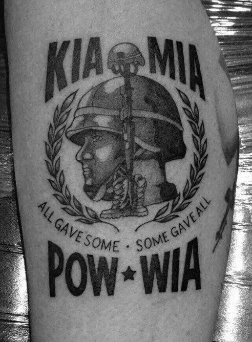 Leg Guys Pow Mia Tattoo Design Ideas
