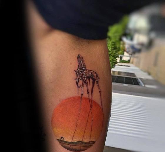 Leg Guys Tattoos With Salvador Dali Elephant Design