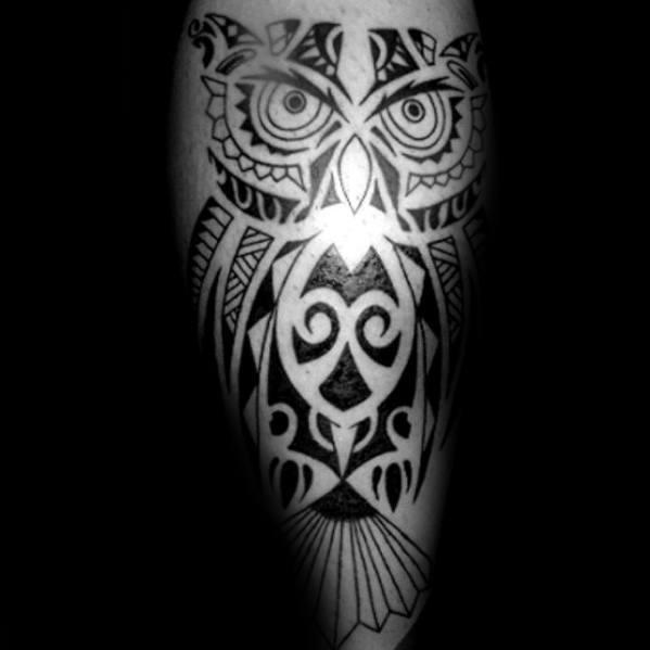 Leg Guys Tribal Owl Black Ink Tattoo With Hawaiian Design