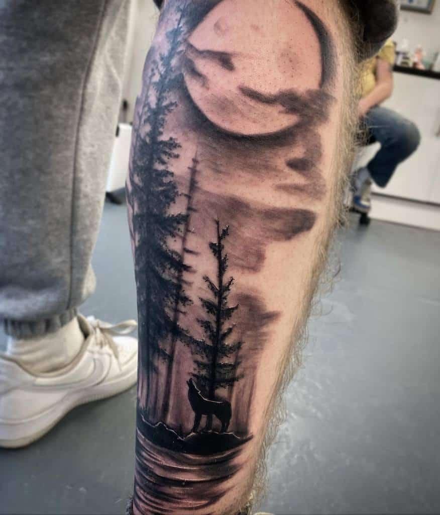 leg howling wolf tattoo scarletshades