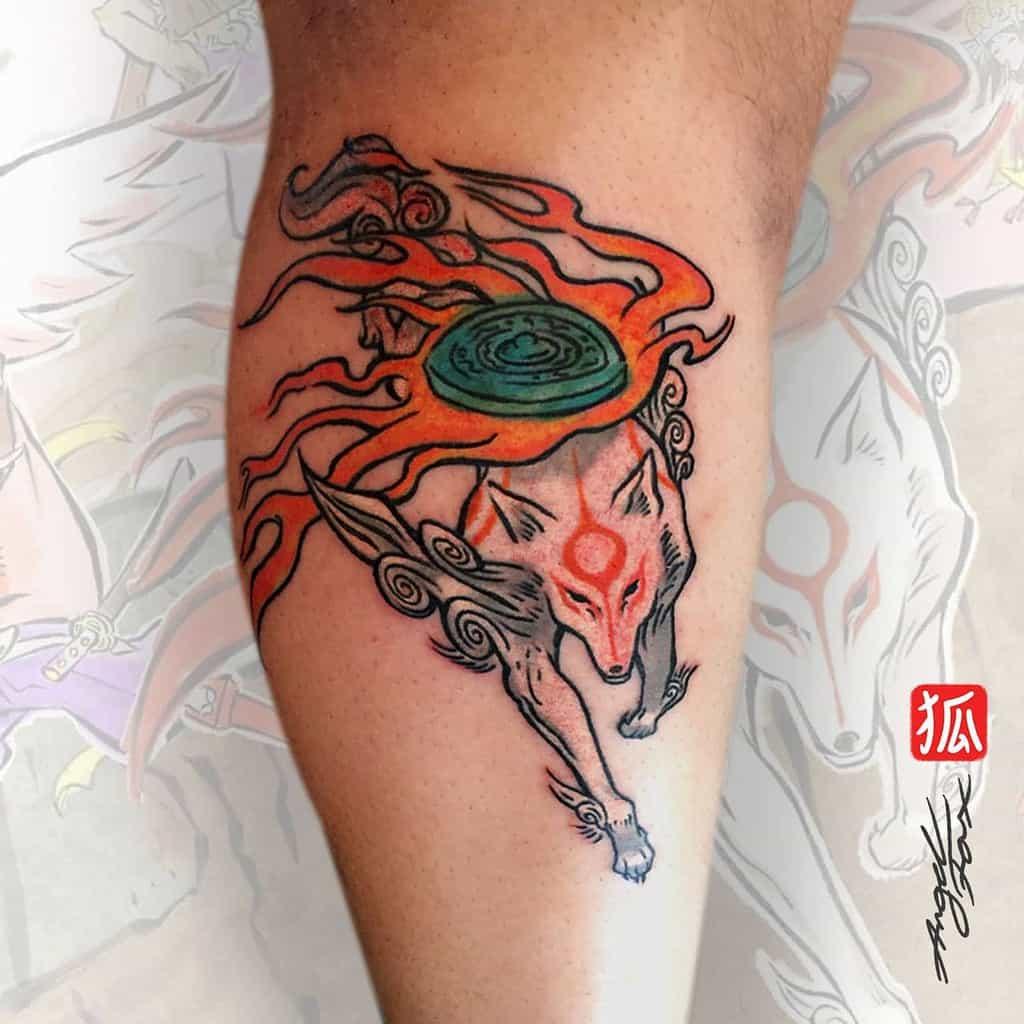 leg japanese wolf tattoo peterangelfox