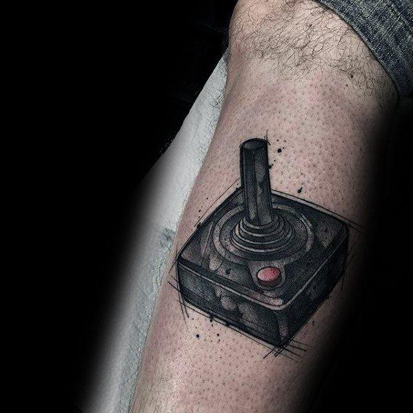 Leg Joystick Gamer Tattoo Ideas For Gentlemen