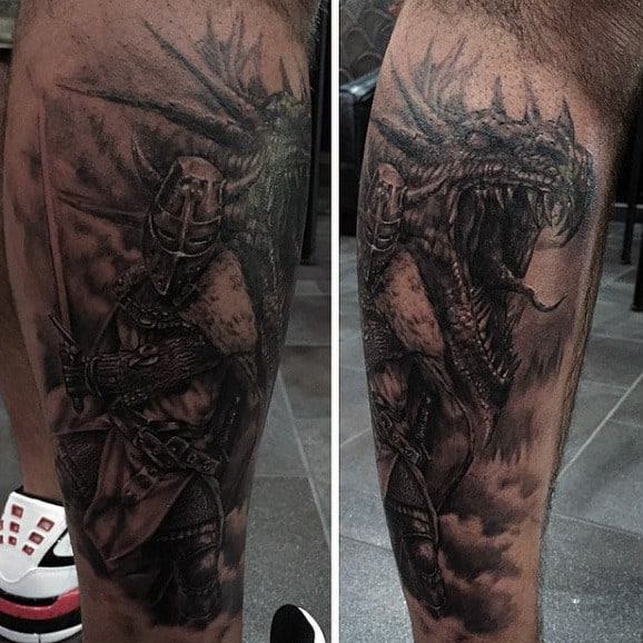 Leg Knight Fighting Dragon Tattoo For Men