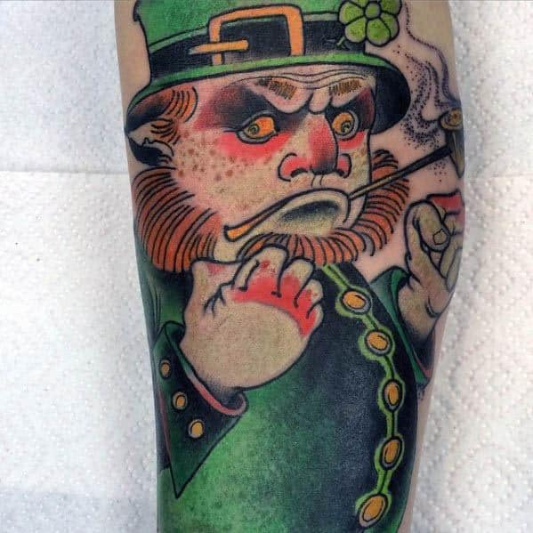 Leg Leprechaun Male Tattoos