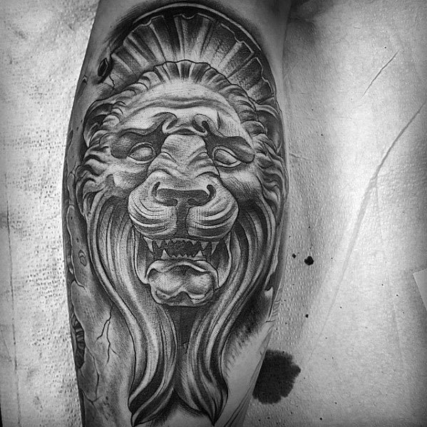 Leg Lion Statue Mens Tattoo Designs