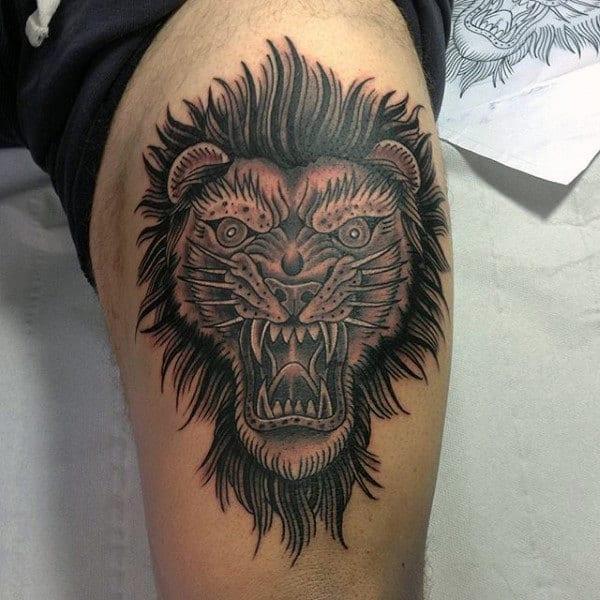 Leg Lion Tattoos For Men