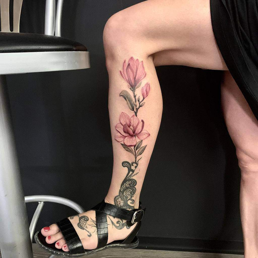 leg magnolia tattoos rajatattoo_artist