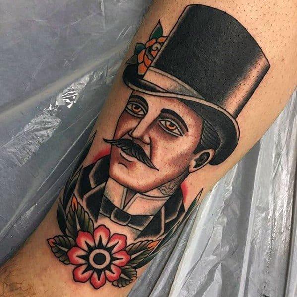 Leg Male Flower Top Hat Tattoo Design Inspiration