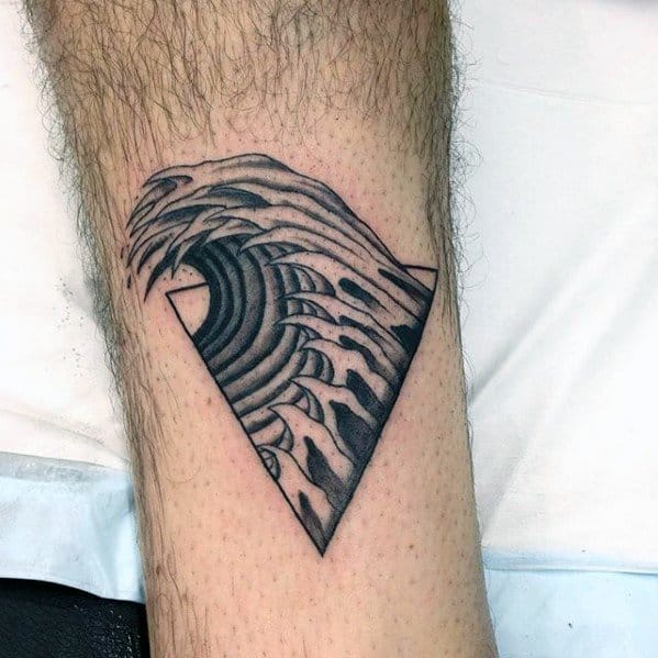 Leg Male Ocean Triangle Tattoo Inspiration