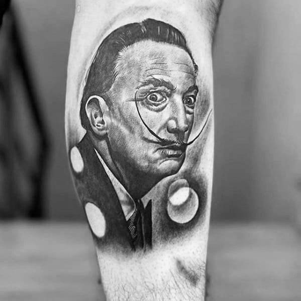 Leg Male Salvador Dali Tattoo Design Inspiration