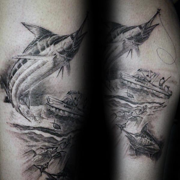 Leg Male Tattoo With Marlin Design
