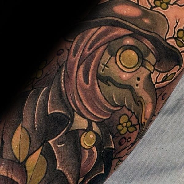 Leg Male Tattoo With Plague Doctor Design