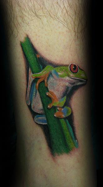 Leg Male Tattoo With Tree Frog Design
