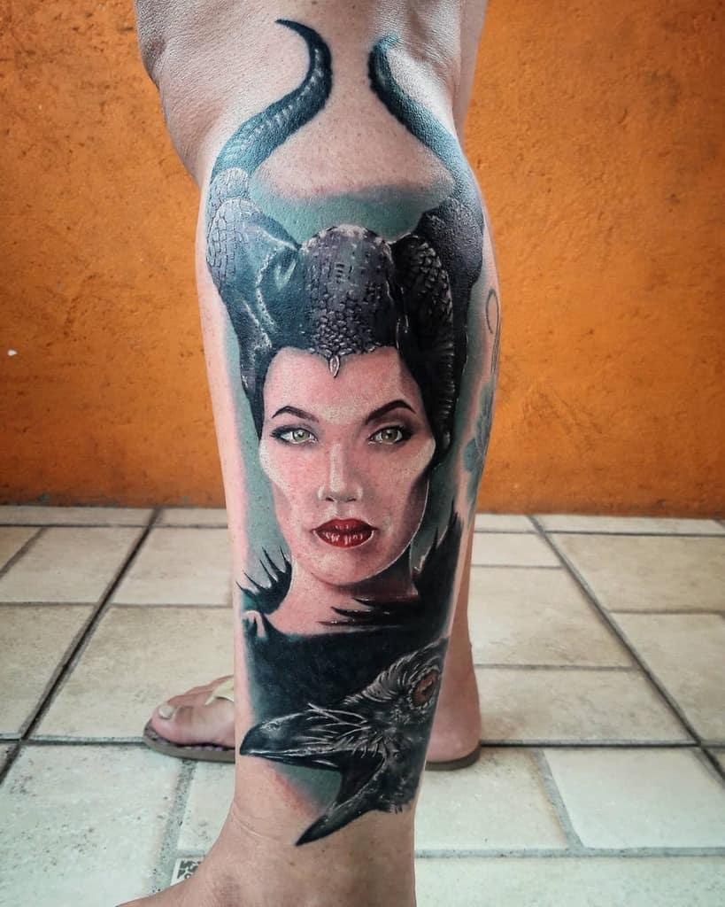 Leg Maleficent Tattoos Henriquemattos Tattoo