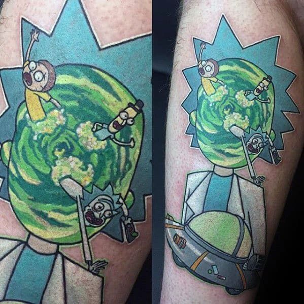 Leg Manly Rick And Morty Tattoo Design Ideas For Men
