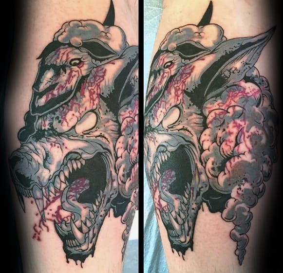 Leg Masculine Wolf In Sheeps Clothing Tattoos For Men