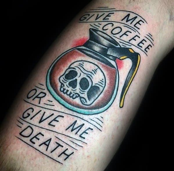 Leg Mens Coffee Tattoo