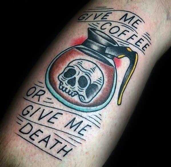 Leg Mens Coffee Tattoo
