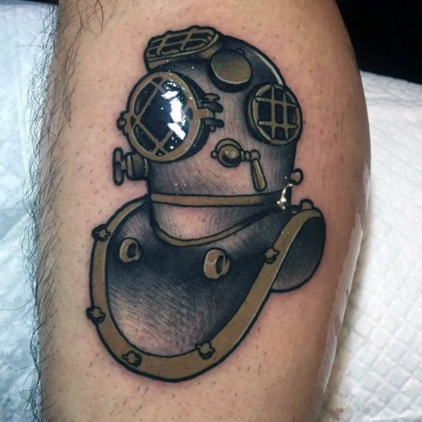 Leg Mens Cool Diving Helmet Tattoo Design Inspiration