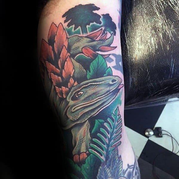 Leg Mens Cool Jurassic Park Tattoo Ideas