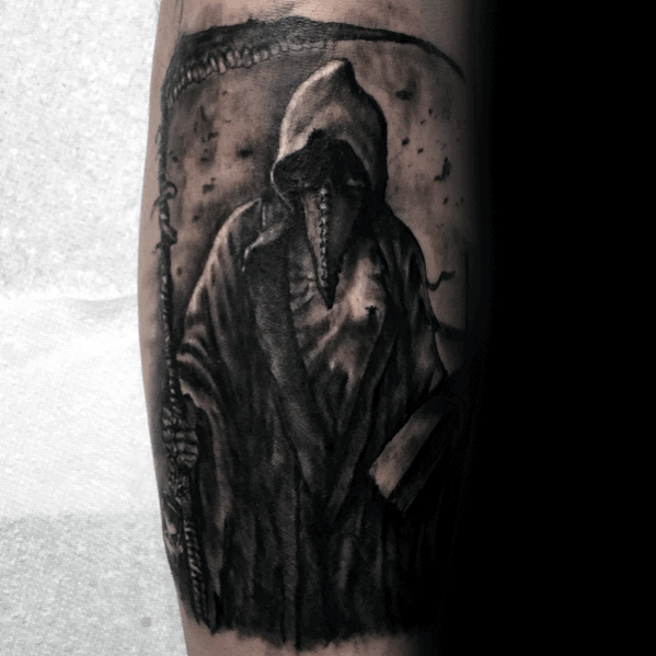 Leg Mens Cool Plague Doctor Tattoo Ideas