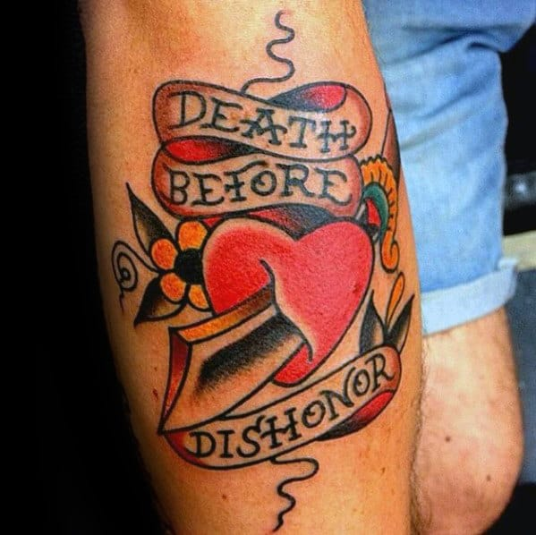 Leg Mens Death Before Dishonor Traditional Heart Dagger Tattoos