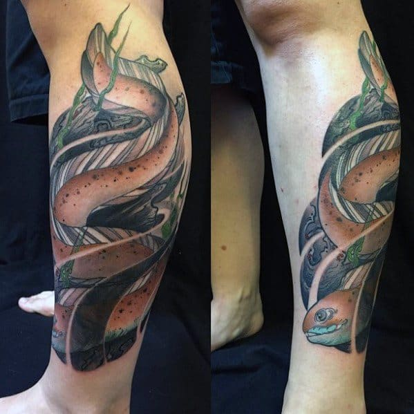 Leg Mens Eel Tattoo Ideas