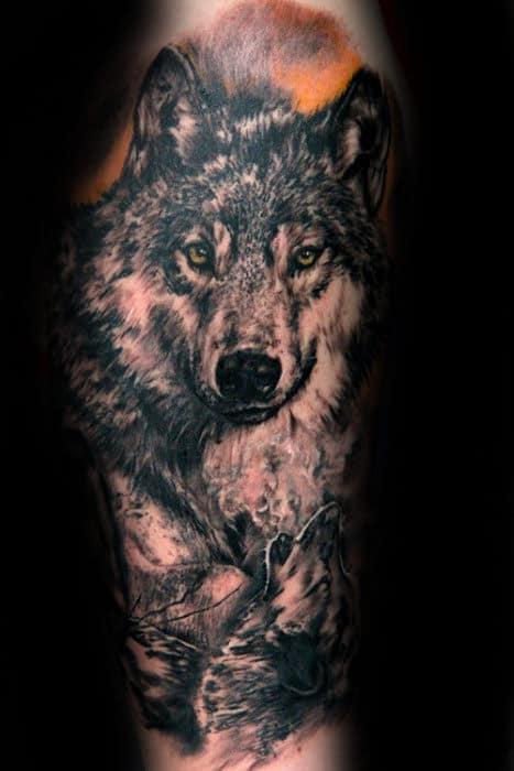 Leg Mens Shaded Realistic Running Wolf Tattoo