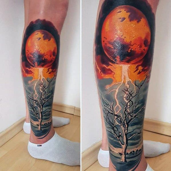 Leg Mens Surrealism Tattoo Design Inspiration