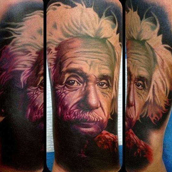 Leg Mens Tattoo With Albert Einstein Design