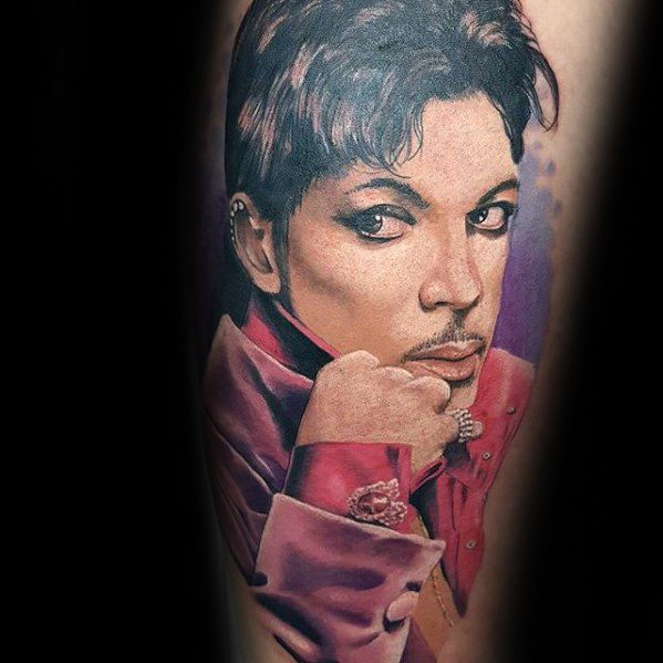 Leg Mens Tattoo With Prince Design