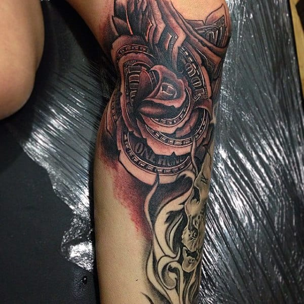 Leg Money Rose Flower Mens Tattoos With Black Ink Shading