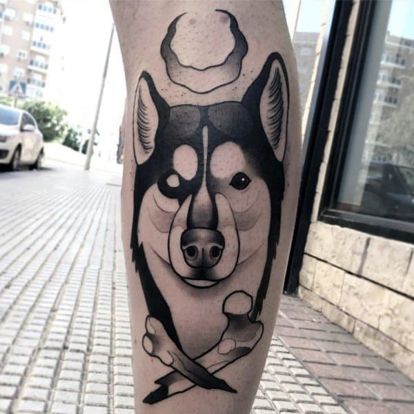Leg Old School Husky Tattoos For Men