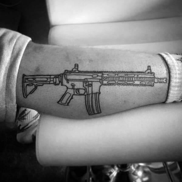 Leg Outline Ar 15 Tattoo Inspiration For Men