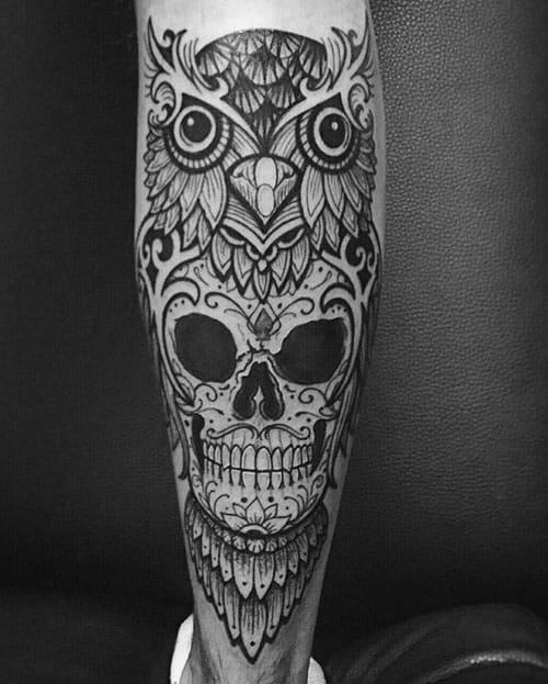 Leg Owl Skull Tattoos For Gentlemen