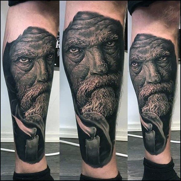 Leg Portrait Realistic 3d Male Tattoo With Rad Design