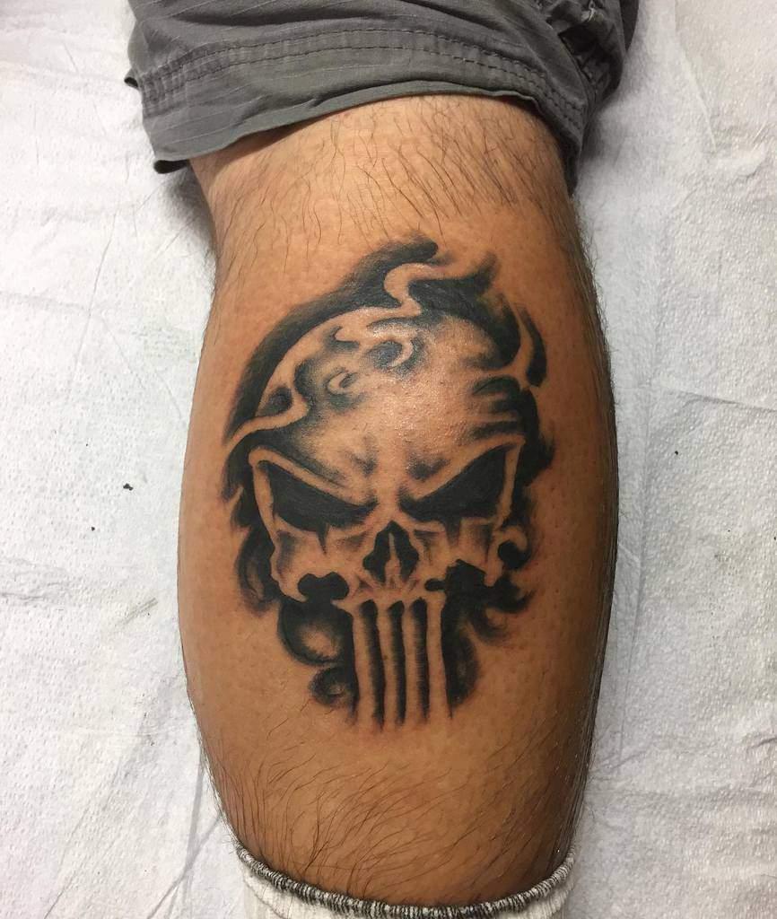 leg punisher skull tattoo mcbastard83