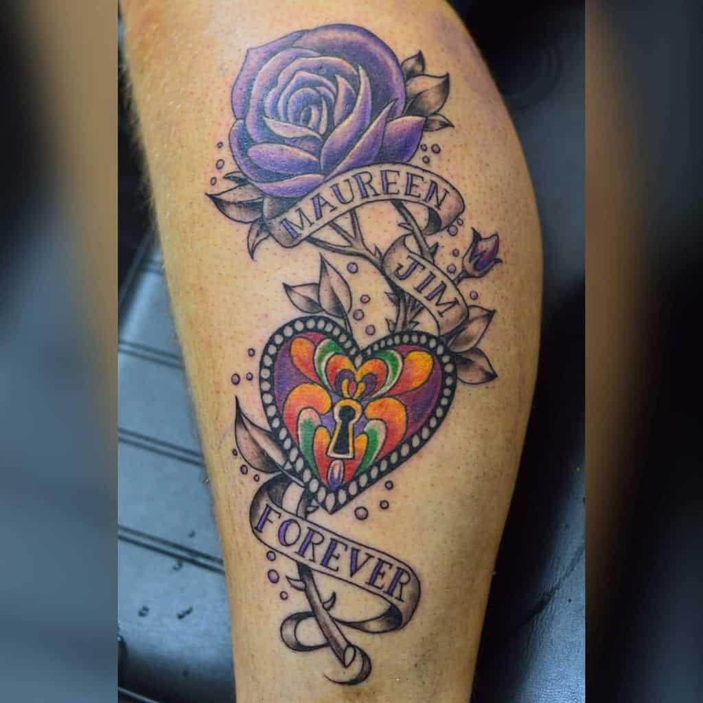 leg purple rose tattoos artbyzaz