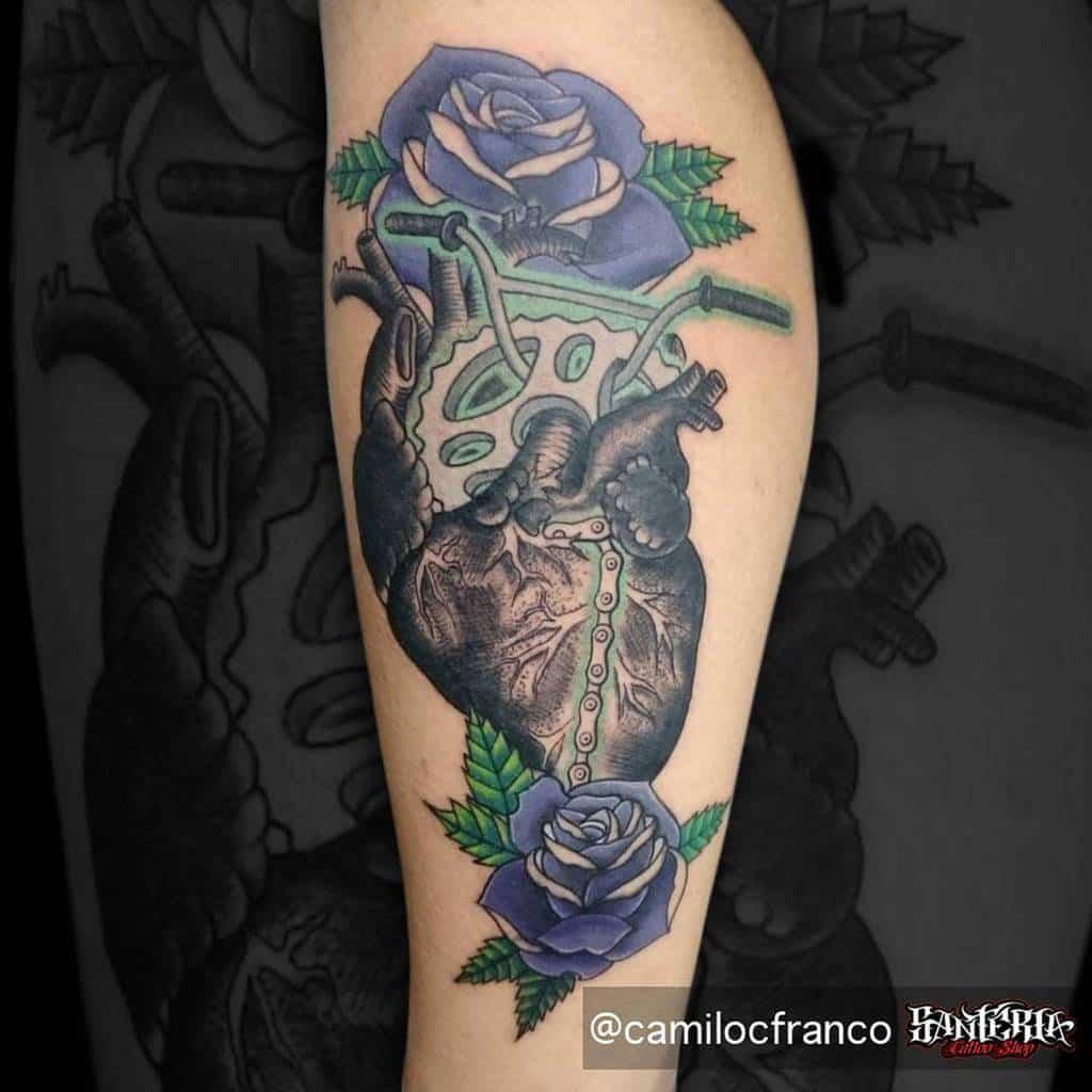 leg purple rose tattoos camilocfranco