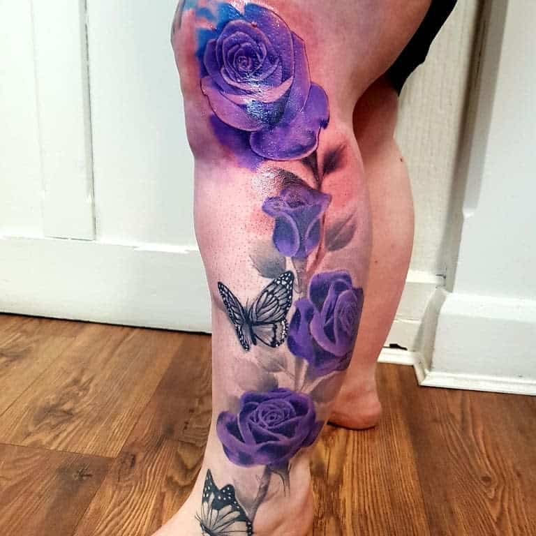 leg purple rose tattoos eagleinktattoostudio_durham
