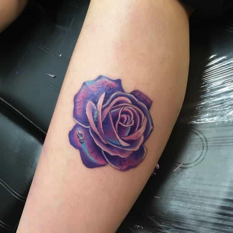 leg purple rose tattoos hannyatattoo
