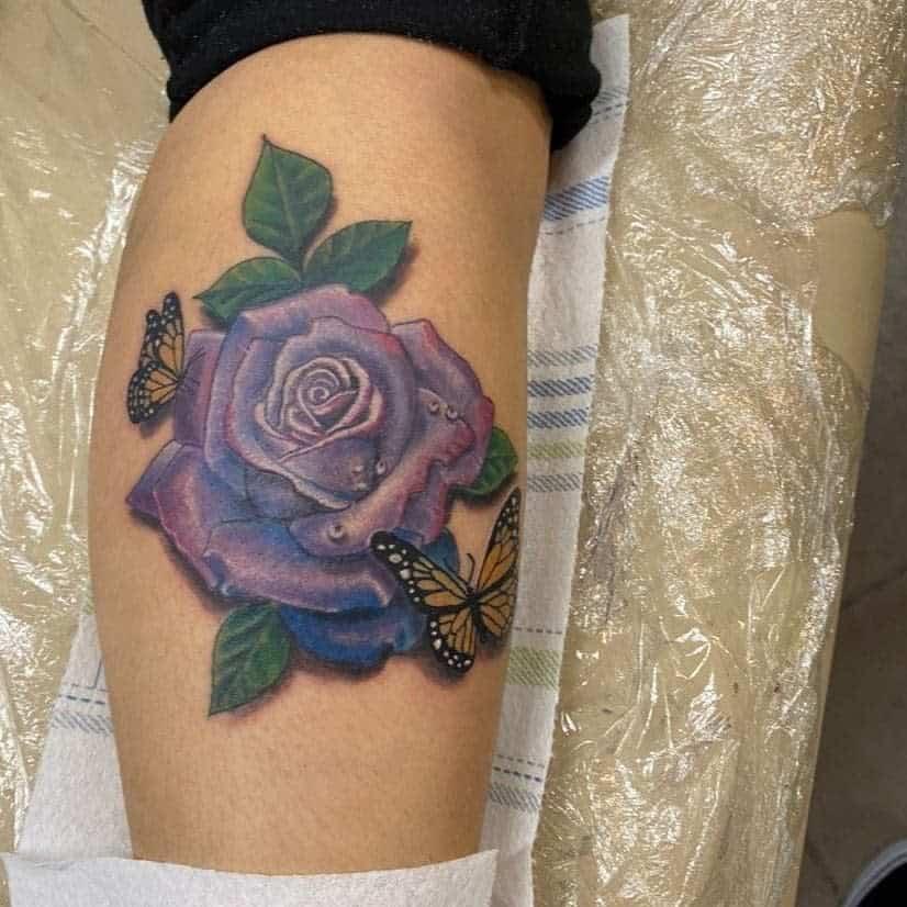 leg purple rose tattoos kenohtatts